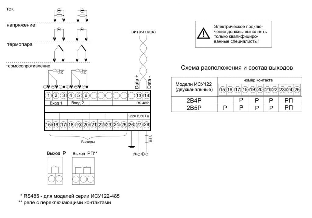 Схема подключения ИСУ 122