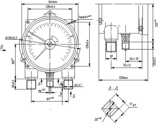 Технический чертеж электроконтактных взрывозащищённых манометров ДМ2005фСг1Ex ( аналог ДМ2005Сг1Ex.